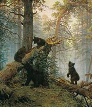 утро в сосновом лесу описание